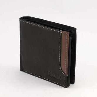 КОД : 0186 Мъжки портфейл от естествена кожа в цвят черно с кафяво Rinaldo