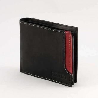 КОД : 0186 Мъжки портфейл от естествена кожа в цвят черно с червено Rinaldo
