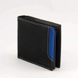 КОД : 0186 Мъжки портфейл от естествена кожа в цвят черно със синьо Rinaldo