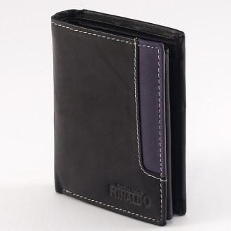 КОД : 0188 Мъжки портфейл от естествена кожа в цвят черно с лилаво Rinaldo