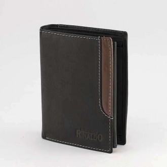 КОД : 0188 Мъжки портфейл от естествена кожа в цвят черно с кафяво Rinaldo