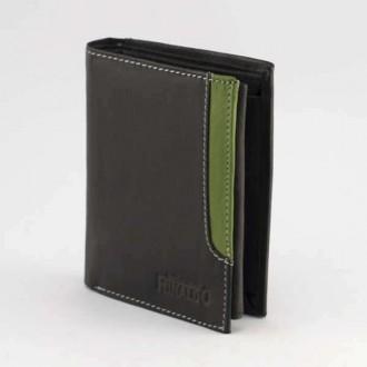 КОД : 0188 Мъжки портфейл от естествена кожа в цвят черно със зелено Rinaldo
