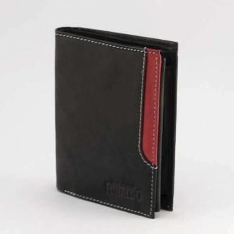 КОД : 0188 Мъжки портфейл от естествена кожа в цвят черно с червено Rinaldo