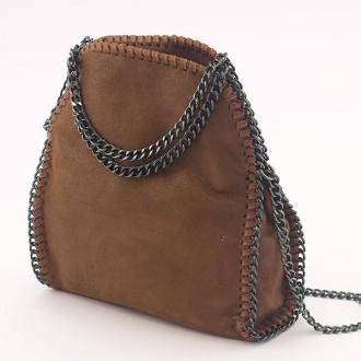 КОД: H608 Малка дамска чанта от еко велур в кафяв цвят