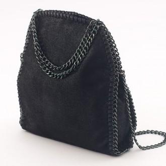 КОД: H608 Малка дамска чанта от еко велур в черен цвят