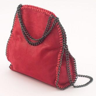 КОД: H608 Малка дамска чанта от еко велур в червен цвят