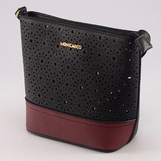 КОД : 6052 Дамска чанта от плътна и висококачествена еко кожа в цвят черно с червено