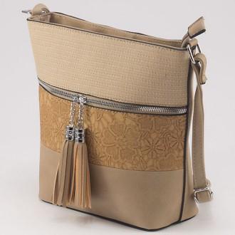 КОД: 1081 Дамска чанта от плътна и висококачествена еко кожа в цвят каки