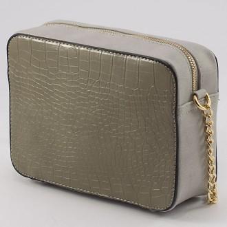КОД: 8004A Малка дамска чанта от плътна и висококачествена еко кожа в сив цвят