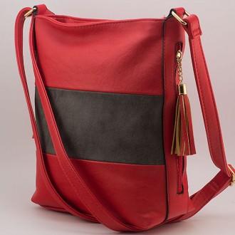 КОД: 8285  Дамска чанта от плътна и висококачествена еко кожа в червен цвят