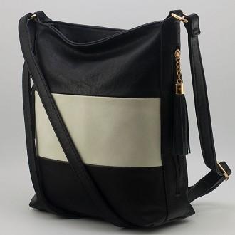 КОД: 8285  Дамска чанта от плътна и висококачествена еко кожа в черен/бял цвят