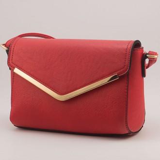 КОД: Z851 Малка дамска чанта от плътна и висококачествена еко кожа в червен цвят