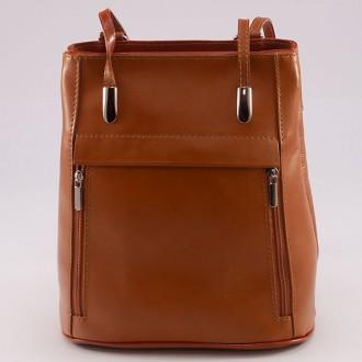 КОД : 0003 Дамска чанта / раница от естествена кожа в кафяв цвят
