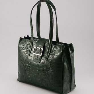 КОД: 0125 Дамска чанта от естествена кожа с крокодилска щампа в зелен цвят