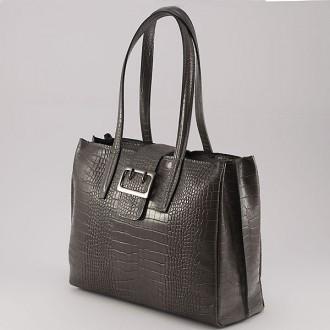КОД: 0125 Дамска чанта от естествена кожа с крокодилска щампа в сив цвят