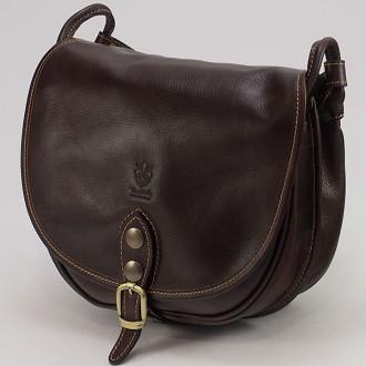КОД : 2130 Дамска чанта от естествена биволска кожа в тъмнокафяв цвят