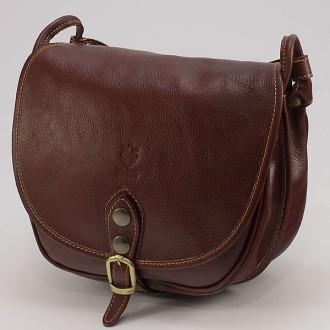 КОД : 2130 Дамска чанта от естествена биволска кожа в кафяв цвят