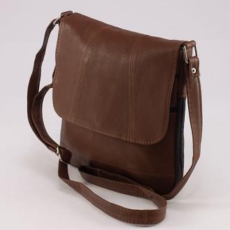КОД: 0027 Дамска чанта от естествена кожа на парчета в кафяв цвят