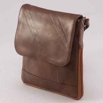 КОД: 0027S Дамска чанта от естествена кожа на парчета в кафяв цвят