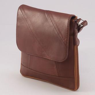 КОД: 0027S Дамска чанта от естествена кожа на парчета в червеникавокафяв цвят