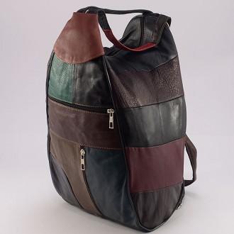 КОД : 0028 Дамска раница / чанта от естествена кожа на парчета, тъмни цветове