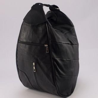 КОД : 0028 Дамска раница / чанта от естествена кожа в черен цвят