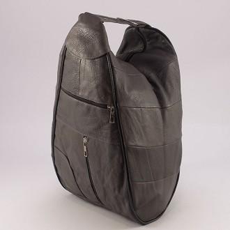 КОД : 0028 Дамска раница / чанта от естествена кожа в сив цвят