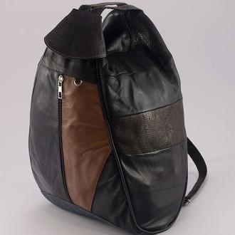 КОД : 0028B Дамска раница / чанта от естествена кожа в тъмни цветове