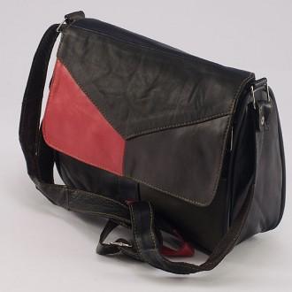 КОД: 0034 Дамска чанта от естествена кожа на парчета в тъмни цветове
