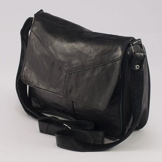 КОД: 0034 Дамска чанта от естествена кожа на парчета в черен цвят
