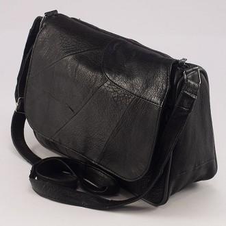 КОД: 0034B  Дамска чанта от естествена кожа на парчета в черен цвят