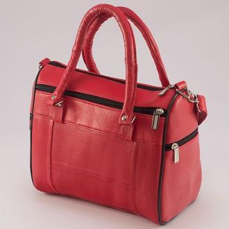 КОД : 0038 Дамска чанта от естествена кожа на парчета в червен цвят