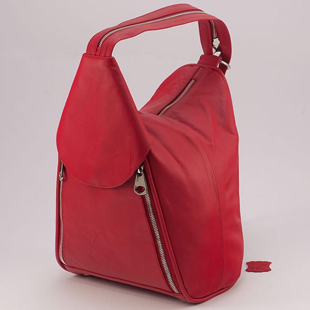 КОД: 0044 Дамска раница/чанта от естествена кожа в червен цвят