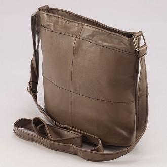 КОД: 0048 Дамска чанта от естествена кожа на парчета в светлокафяв цвят