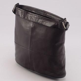 КОД: 0048 Дамска чанта от естествена кожа на парчета в тъмнокафяв цвят