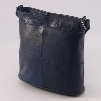 КОД: 0048 Дамска чанта от естествена кожа на парчета в син цвят