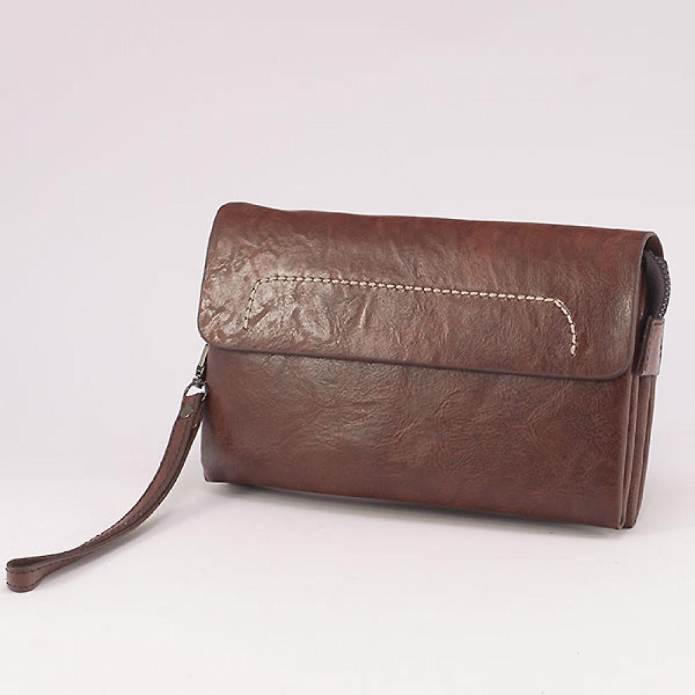 КОД : 0810 Мъжка чанта от плътна и висококачествена еко кожа в кафяв цвят