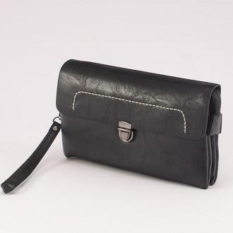 КОД : 0811 Мъжка чанта от плътна и висококачествена еко кожа в черен цвят