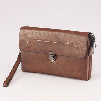 КОД : 0811 Мъжка чанта от плътна и висококачествена еко кожа в светлокафяв цвят