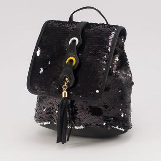 КОД: 4636 Мини дамска раница от еко кожа с пайети в черен цвят