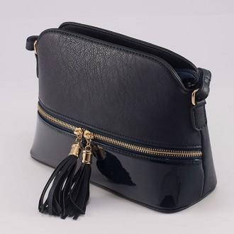 КОД : 8541 Дамска чанта от плътна и висококачествена еко кожа в тъмносин цвят
