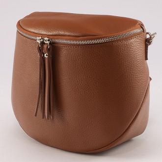 КОД : 0085 Малка дамска чанта от естествена кожа в кафяв цвят