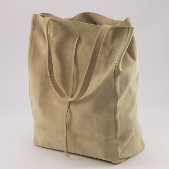 КОД : 0086 Дамска чанта тип торба от естествен велур в тъмнобежов цвят