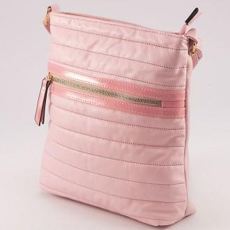 КОД : 8066 Дамска чанта от плътна и висококачествена еко в розов цвят