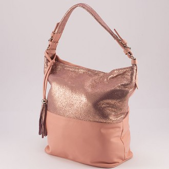 КОД : 0083 Дамска чанта тип торба от естествена кожа с блясък цвят розово с брокат