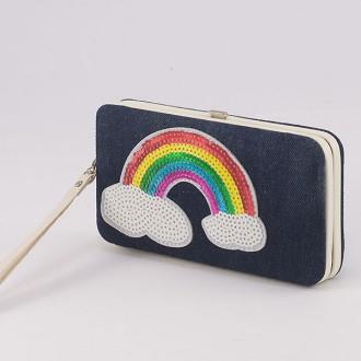 КОД : 4990 Дамски портфейл от еко кожа и текстил с дъга