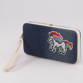 КОД : 4990 Дамски портфейл от еко кожа и текстил с еднорог