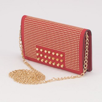 КОД : F902 Дамски портфейл/чанта от плътна и висококачествена еко кожа в червен цвят