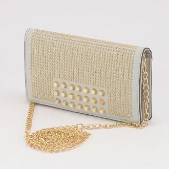 КОД : F902 Дамски портфейл/чанта от плътна и висококачествена еко кожа в сив цвят