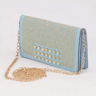 КОД : F902 Дамски портфейл/чанта от плътна и висококачествена еко кожа в син цвят